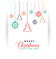 merry christmas white card with decorative vector image