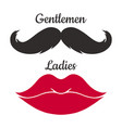 mustaches and lips shape vector image