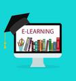 online education in school book in computer
