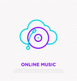online music line icon record player on cloud vector image vector image
