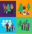 people celebrating christmas clipart vector image vector image