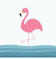pink flamingo standing on one leg water sea wave vector image vector image
