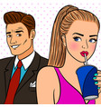 pop art girl flirtng with man vector image vector image
