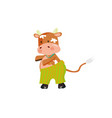 redhead cow wearing green striped pants vector image vector image