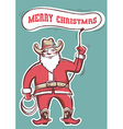 Santa Claus in cowboy boots twirling a lasso with vector image vector image