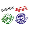 scratched textured criminal record stamp seals vector image vector image