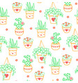 seamless pattern houseplant vector image