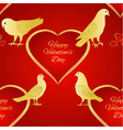 seamless texture birds pigeons and heart vector image