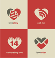 set heart shape icons and symbols vector image vector image