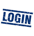 square grunge blue login stamp vector image vector image