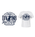 t-shirt print with cuttlefish scuba dive club vector image vector image
