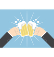 Two businessman hands toasting glasses of beer vector image