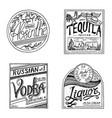 vintage american absinthe tequila vodka liqueur vector image vector image