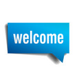 welcome blue 3d realistic paper speech bubble vector image vector image