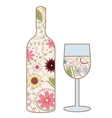 Wine bottle and glass vintage vector image