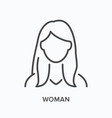 woman flat line icon outline vector image vector image