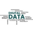 word cloud - digital data vector image vector image