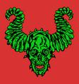 horror demonic skull with horns vector image
