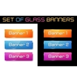 Set of glass orange blue and purple banners vector image