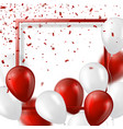 3d balloons with confetti and frame vector image