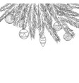 beautiful black and white christmas balls hanging vector image vector image