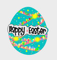 big blue egg with colorful egg and white rabbit vector image