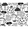 Black and white seamless pattern with mushrooms