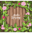 border template with roses on wooden wall vector image vector image