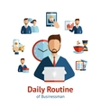 Businessman daily routine concept poster vector image vector image