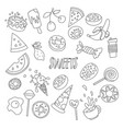 cute cartoon sweets line icon set fruits berries vector image
