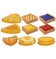 different types of bread for breakfast vector image vector image