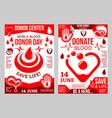 donation blood poster for world donor day design vector image vector image