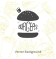 Fast food background with hand drawn burger vector image vector image