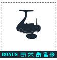 fishing reel icon flat vector image vector image