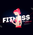fitness club ad with a healthy woman lifting weigh vector image
