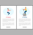 fitness websites squats and bicycle exercise vector image vector image
