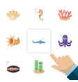 flat icon marine set of scallop shark tentacle vector image vector image