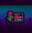 flower store logo neon sign flower shop vector image vector image