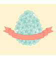 flowers graphics in the form of egg with ribbon vector image