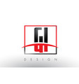 gi g i logo letters with red and black colors and vector image vector image