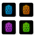 glowing neon battery with recycle symbol line vector image vector image