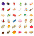 grocery icons set isometric style vector image vector image