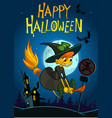 halloween background with cute witch flying on vector image