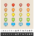 Hand drawn GPS pin and map icon set vector image vector image