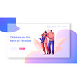 happy loving parent and children landing page vector image vector image