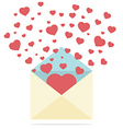 Hearts Spread Outside Mails Envelope vector image vector image
