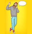 hipster man in headphones cartoon portrait vector image vector image