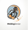 industrial worker with welding mask vector image