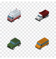 isometric automobile set of armored freight vector image vector image