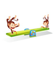 Monkeys on a seesaw vector image vector image